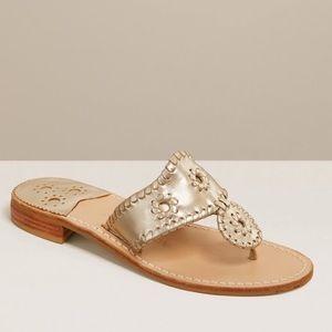 Jack Rogers Platinum Gold Medallion Flat Sandals